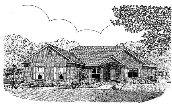 Traditional House Plan 96817 with 5 Beds, 4 Baths, 2 Car Garage Elevation