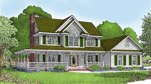 Country, Farmhouse House Plan 96819 with 3 Beds, 3 Baths, 2 Car Garage Elevation