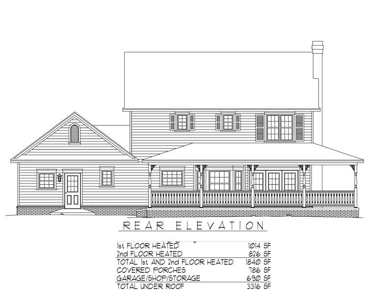 Country, Farmhouse House Plan 96819 with 3 Beds, 3 Baths, 2 Car Garage Rear Elevation