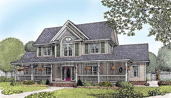 Country, Farmhouse, Southern House Plan 96834 with 4 Beds, 3 Baths, 3 Car Garage Elevation