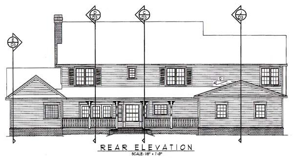 Country, Farmhouse House Plan 96841 with 5 Beds, 3 Baths, 3 Car Garage Rear Elevation