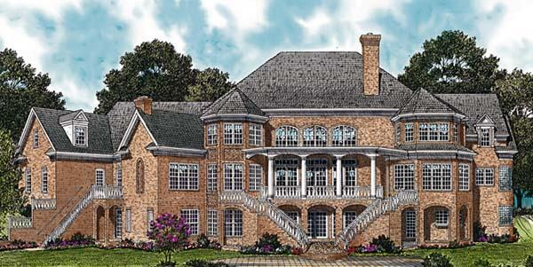 Colonial House Plan 96904 with 4 Beds, 9 Baths, 3 Car Garage Rear Elevation