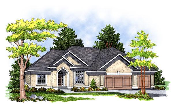 European, One-Story House Plan 97151 with 3 Beds, 2 Baths, 2 Car Garage Elevation