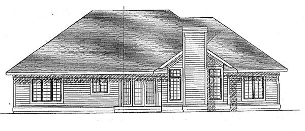 European, One-Story House Plan 97151 with 3 Beds, 2 Baths, 2 Car Garage Rear Elevation