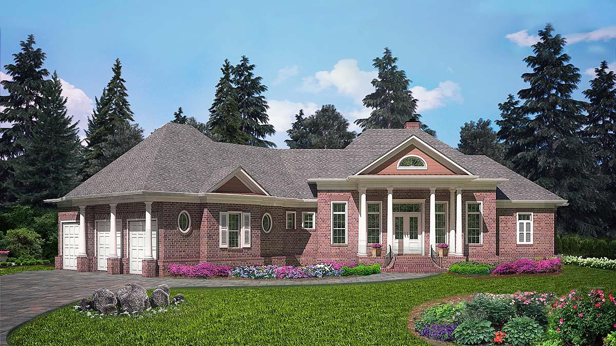 Ranch, Traditional House Plan 97692 with 5 Beds, 6 Baths, 3 Car Garage Elevation