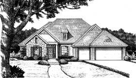 Bungalow, European House Plan 97850 with 4 Beds, 3 Baths, 3 Car Garage Elevation