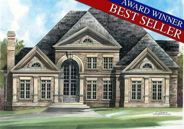 European, Greek Revival, Victorian House Plan 98226 with 4 Beds, 4 Baths, 3 Car Garage Elevation