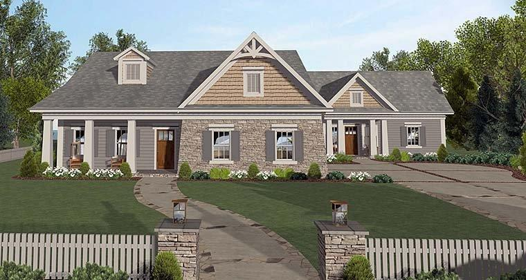 Cottage, Country, Craftsman House Plan 98401 with 4 Beds, 2 Baths, 2 Car Garage Elevation