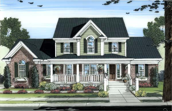 Country House Plan 98604 with 4 Beds, 3 Baths, 3 Car Garage Elevation