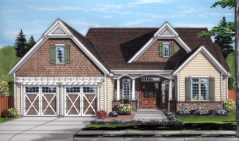 Country, Craftsman, Traditional House Plan 98677 with 3 Beds, 3 Baths, 2 Car Garage Elevation