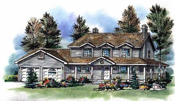 Country, Farmhouse House Plan 98815 with 3 Beds, 3 Baths, 2 Car Garage Elevation