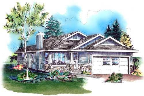 Bungalow, Narrow Lot, One-Story, Ranch House Plan 98886 with 3 Beds, 2 Baths, 2 Car Garage Elevation