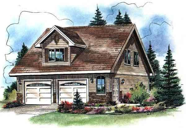 Cape Cod 2 Car Garage Apartment Plan 98892 with 2 Beds, 1 Baths Elevation