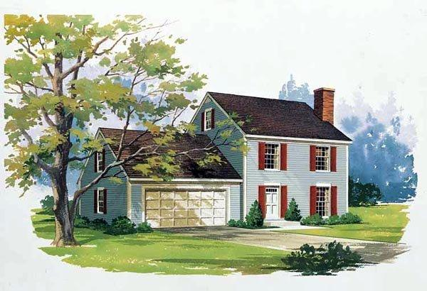 Colonial House Plan 99255 with 3 Beds, 3 Baths, 2 Car Garage Elevation