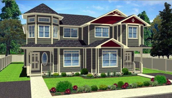 Victorian Multi-Family Plan 99938 with 6 Beds, 6 Baths Elevation