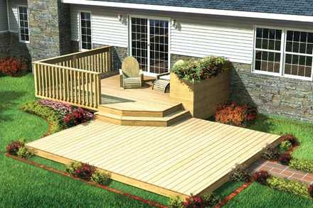 90009 - Split Level Patio Deck w/ Planter