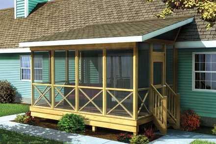 90012 - Screened Porch w/ Shed Roof